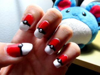 Pokeballs Nail Art by Meowzzie