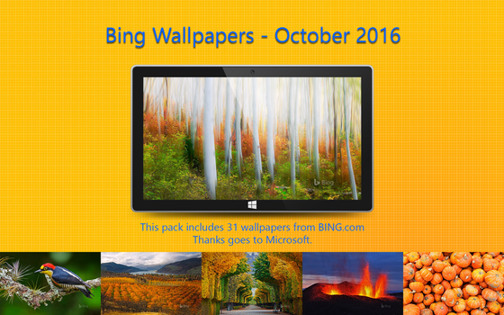 Bing Wallpapers - October 2016 by Misaki2009