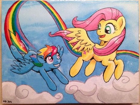 Birthday Painting - Rainbow Dash and Fluttershy by muffinshire