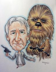 Han and Chewie caricatures by Walmsley
