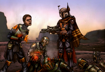 Mandalorian Outcast vs Traitors from clan Yanda by AraxussYexyr