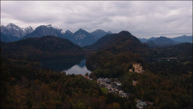 castle, lake, mountains by Hboy