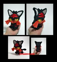 Pokemon - Tiny Litten custom plush OOAK ebay sale by Kitamon