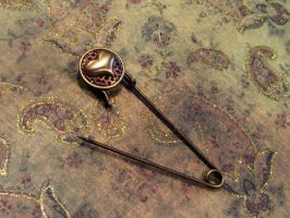 Brass heart scarf pin by JLHilton