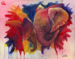 Elephants in Technicolor by 7AirGoddess3