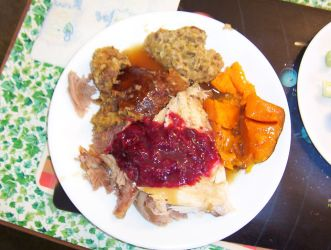 Turkey, Stuffing, Sweet Potatoes, Cranberry, Yum! by caspercrafts