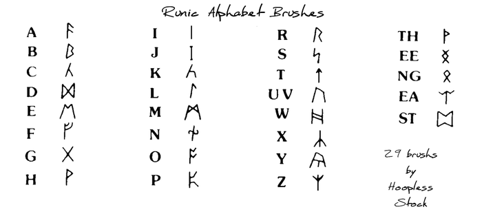 Rune Alphabet Brushes by hoopless-stock