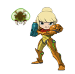 Samus and Baby Metroid Chibi by equilibrik