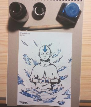 Inktober 2017 - #1 - Aang by Dauganor