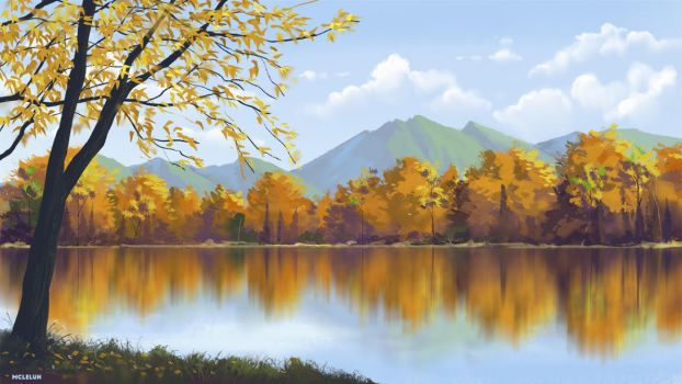 Autumn Lake by mclelun