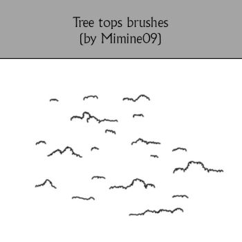 Tree Tops Photoshop Brushes for maps by Mimine09