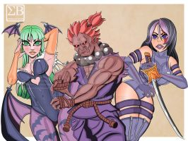 Morrigan, Akuma and Psylocke fanart 2