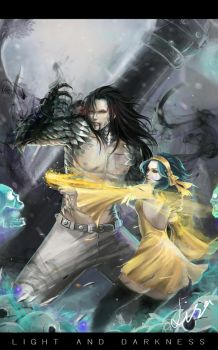 Light and Darkness - Gajeel and Levy by Warb1rd