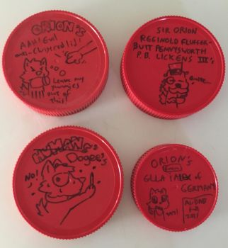 More peanut butter jar lids by Arbok-X