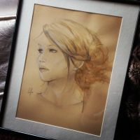 Jennifer Lawrence - Coffee Drawing by charlotvanh