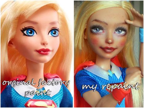 DC Superhero Supergirl before and after by kamarza