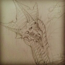 Triclops Dragon Sketch by LittleMollieLuLu