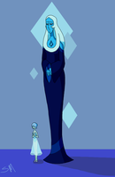Blue Diamond and her Pearl drawn in paint by SmilingM00N