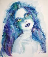 Portrait in watercolor 2 by F1r3lectrical
