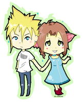 Cloud+Aerith Chibis. by Abi-Beatrice