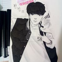 Jungkook Black and White by maplemin