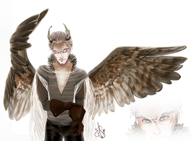 Art Trade with Ninebark - The Horned Owl by Anante