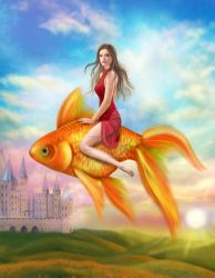 Gold fish and woman. Fantastic illustration by AlenaLazareva