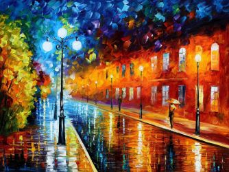 Blue lights by Leonid Afremov by Leonidafremov