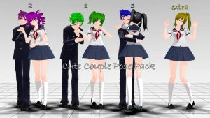 .:Cute Couple pose Pack:.:+DL:..:(MMD):. by XutsukushiX