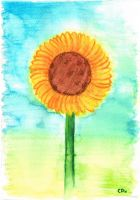 Watercolor Sunflower by lille-cp