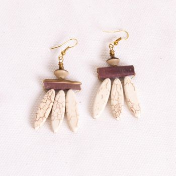 Ceramic and Sea Urchin Earrings by SquirrelzUpcycling