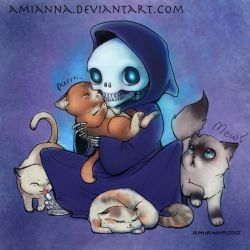 Death with Kittens- Colored by amianna