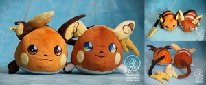 Raichu and Alola Raichu polochon custom plush