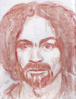 Charles Manson in blood by amybalot