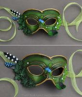 Oxalis and Ivy - Leather Mask with Crystals by windfalcon