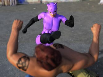 Catwoman fights two thugs 23 by DahriAlGhul