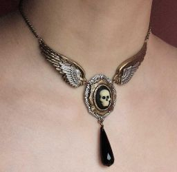 Winged Death necklace by Pinkabsinthe