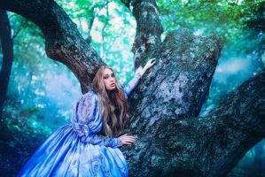 Princess in vintage dress walking in magic forest by Black-Bl00d