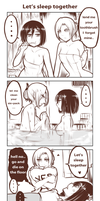 Annie Mikasa Sleep over by Yuriwhale