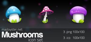 Mushrooms icon set by MadOyster