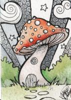ATC ACEO Spotted Grotto by DawnyDawn