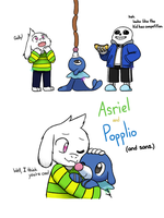 Asriel and Popplio (and sans.) by IceColdInsanity