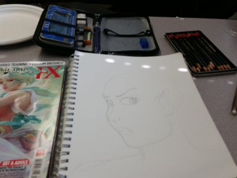 Doddling at work during lunch by macrossmecha