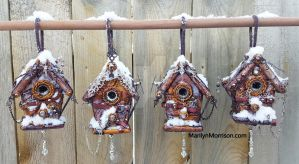 Steampunk Birdhouses in the Snow by MarilynMorrison