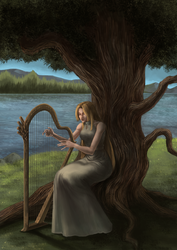 Harp Player by marinasanc