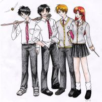 James, Sirius, Remus y Lily by Spacekitty04