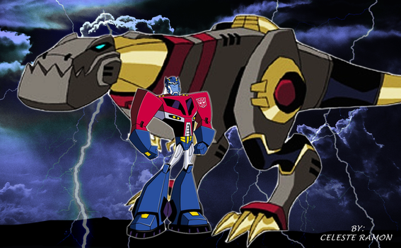 Optimus Prime and Grimlock: Transformers Animated by celtakerthebest