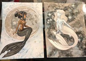 Moon and Sun Mermaids by iMandarr
