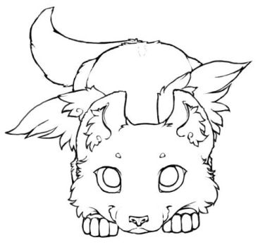 Winged Wolf Cub - Lineart 2 by little-kitsune