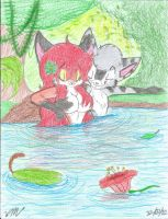A dip in the pond COLORED by The-Victor-Catbox